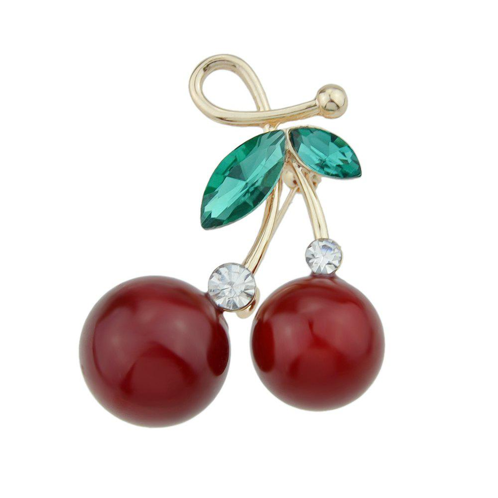 Red Cherry Brooches with Green Crystal for Lady and Girl - multicolor
