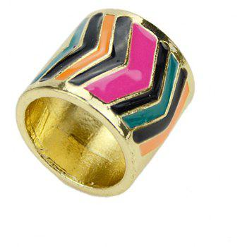 Colorful Enamel Geometric Pattern Finger Ring - multicolor ONE-SIZE