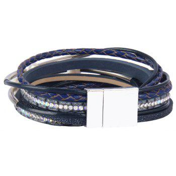 Fashion Ornament Personality Multi-layer Cowhide Copper Tube Pearl Bracelet - BLUE