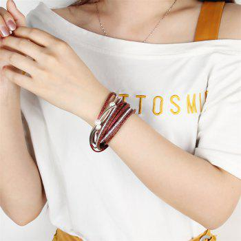 Fashion Ornament Personality Multi-layer Cowhide Copper Tube Pearl Bracelet - RED