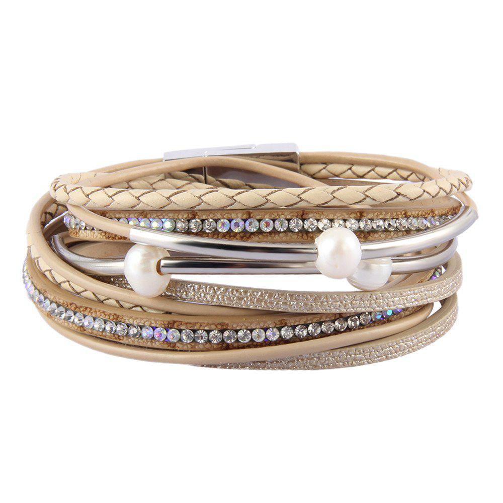 Fashion Ornament Personality Multi-layer Cowhide Copper Tube Pearl Bracelet - GOLD