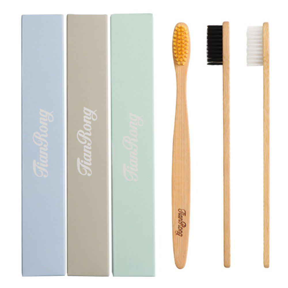 Environmentally Wood Toothbrush Bamboo Fibre Wooden Handle 3pcs - multicolor A