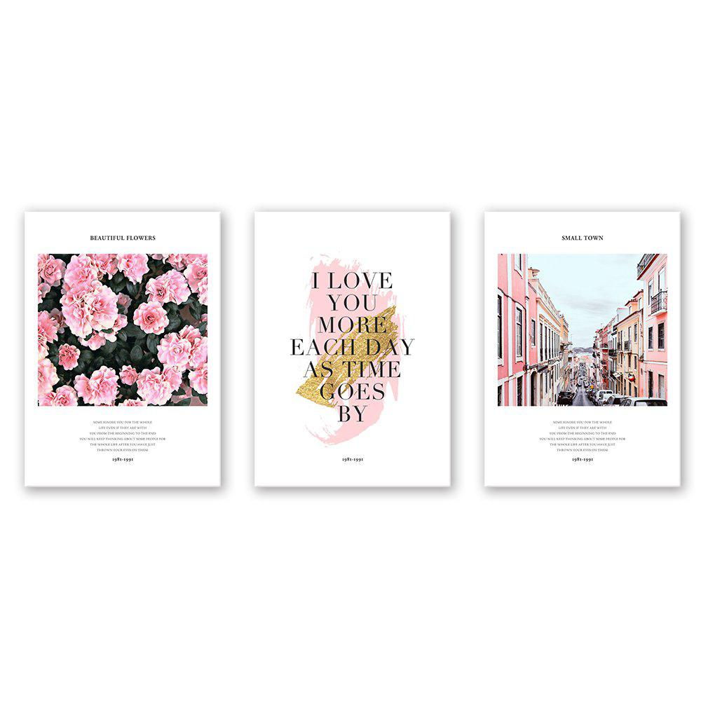 W409 Flower Letter and Street Unframed Canvas Prints for Home Decorations 3 PCS - multicolor 50CM X 70CM X 3PCS
