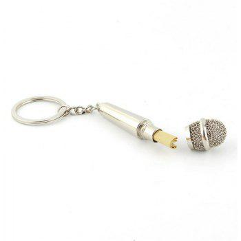 Creative Personality Microphone Metal Keychain - SILVER
