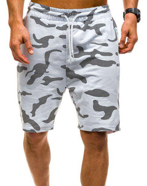 Camouflage Lace Zipper Loose Men's Shorts - WHITE XL