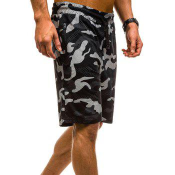 Camouflage Lace Zipper Loose Men's Shorts - BLACK M