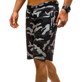 Camouflage Lace Zipper Loose Men's Shorts - BLACK 2XL