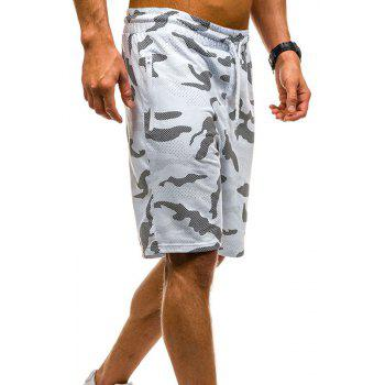 Camouflage Lace Zipper Loose Men's Shorts - WHITE 2XL