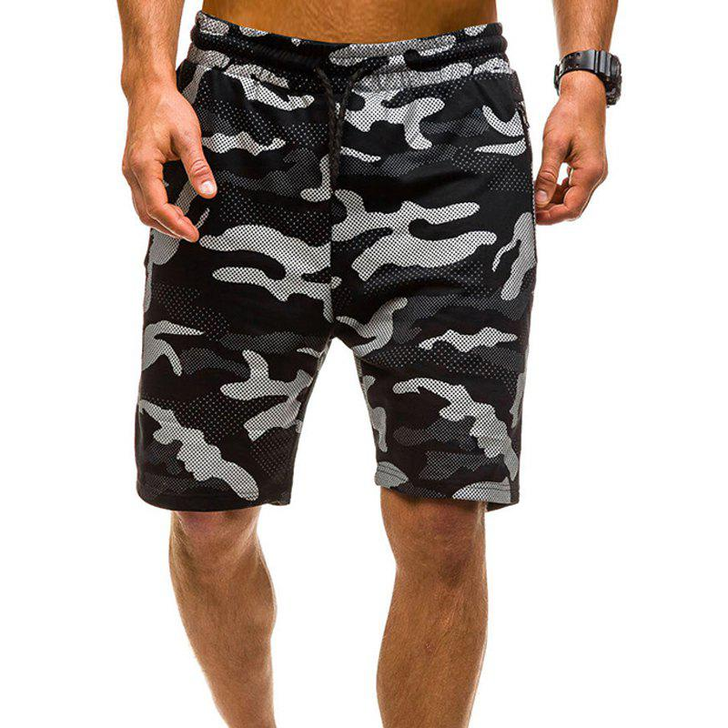 Camouflage Lace Zipper Loose Men's Shorts - BLACK L