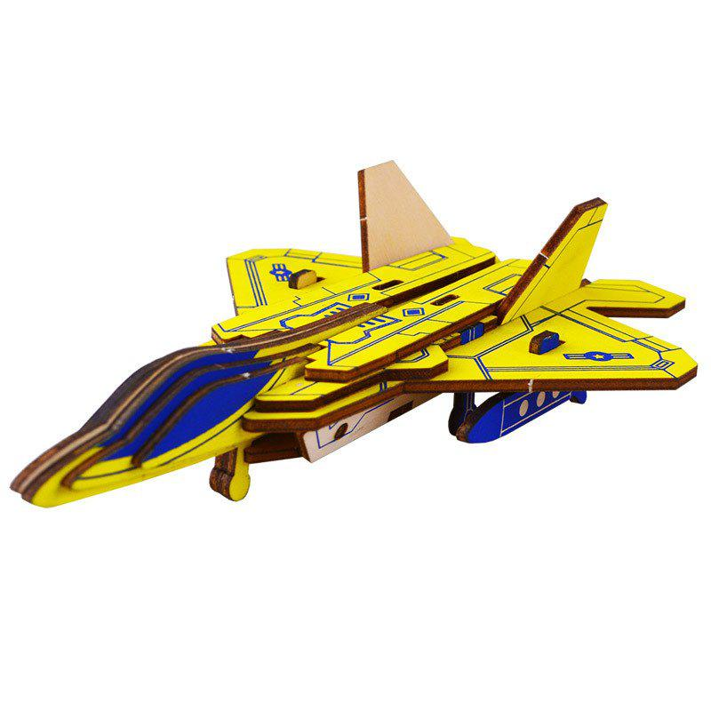 Children Wooden Model Aircraft - YELLOW