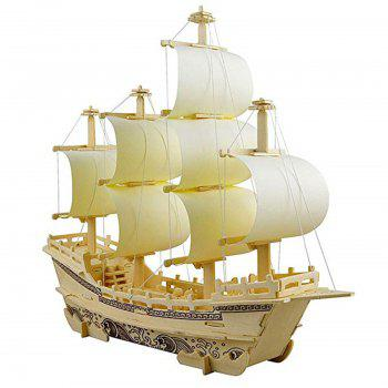 3D Wooden Puzzle Toy Mini Ship Boat Model - WOOD