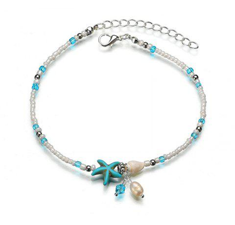Anklet Starfish Shell Beach Chain Bead Bracelet - multicolor