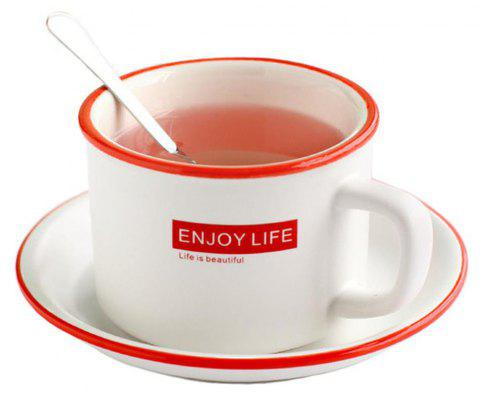 Fashion Saucer Mark Letters with Saucer Ceramic Tea Coffee Cup - RED