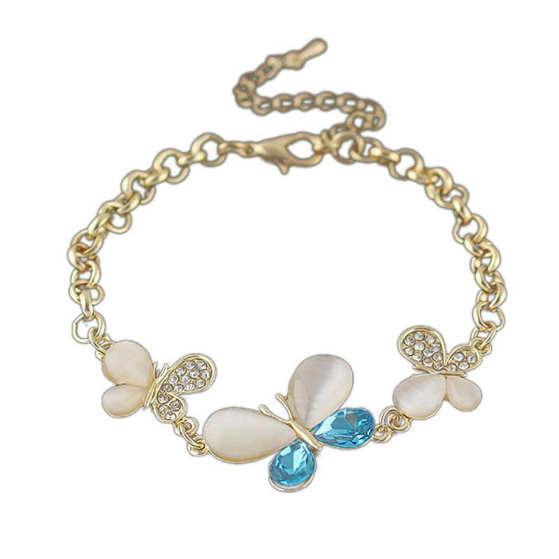 Shiny Gold Color Rhinestone Flower Bracelet - GOLD