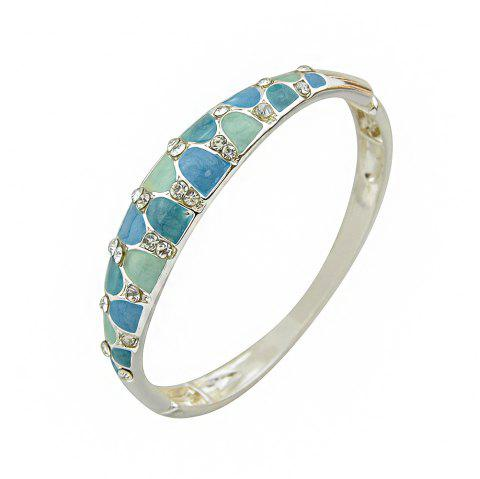 Silver Plated Enamel Metal Bangle for Lady - MACAW BLUE GREEN