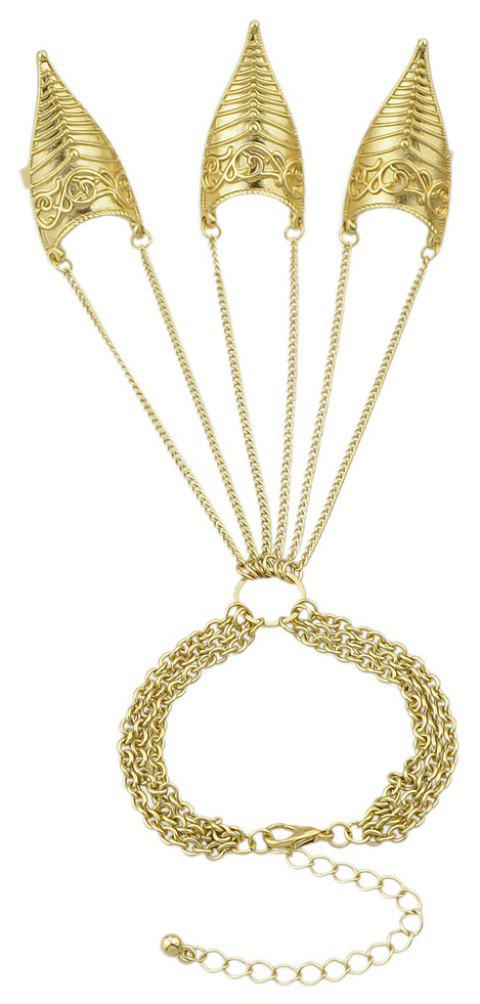 Gold-color Chain Multi Layer Bracelet with Three Finger Slave - GOLD
