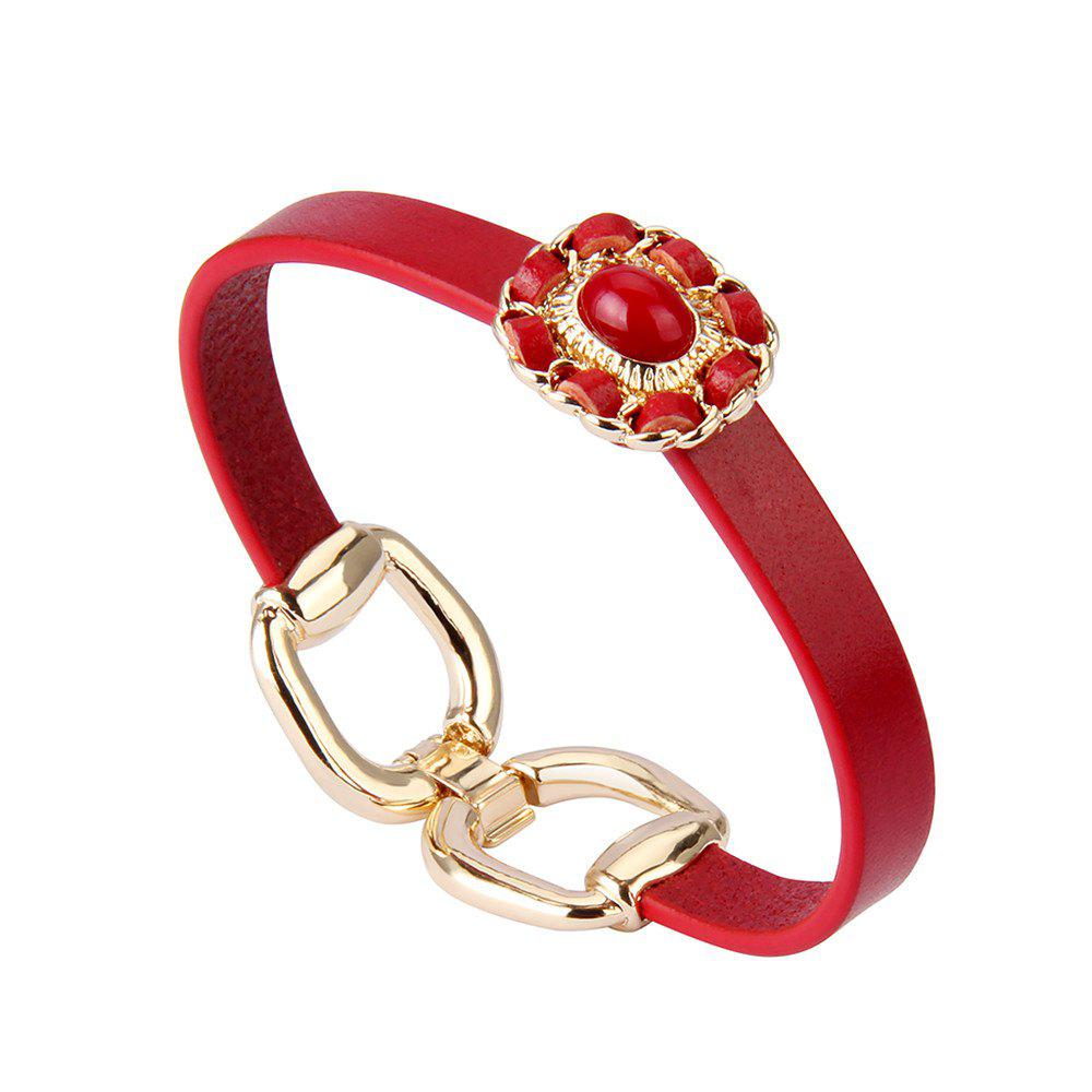 Fashion Accessory Personality Sweet Beaded Alloy Bracelet - RED