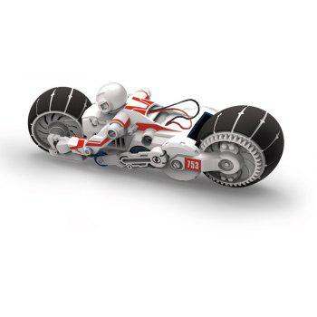 Children Educational DIY Toys Brine Electric Power Motorcycle - WHITE