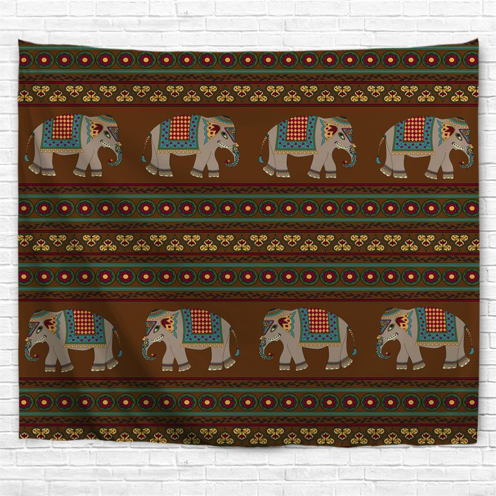 Indian Elephant 3D Printing Home Wall Hanging Tapestry for Decoration - multicolor W203CMXL153CM
