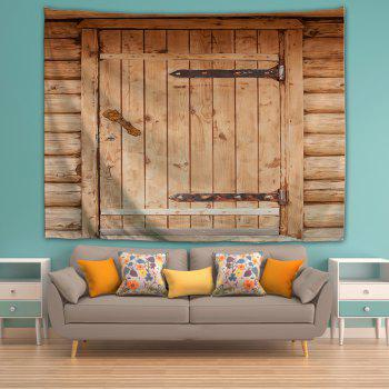 Brown Wooden Door 3D Printing Home Wall Hanging Tapestry for Decoration - multicolor W200CMXL180CM
