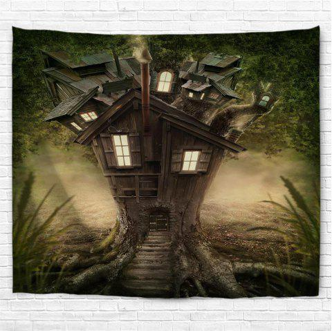 Fantasy Tree House  3D Printing Home Wall Hanging Tapestry for Decoration - multicolor W230CMXL180CM
