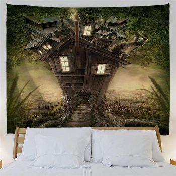 Fantasy Tree House  3D Printing Home Wall Hanging Tapestry for Decoration - multicolor W153CMXL130CM