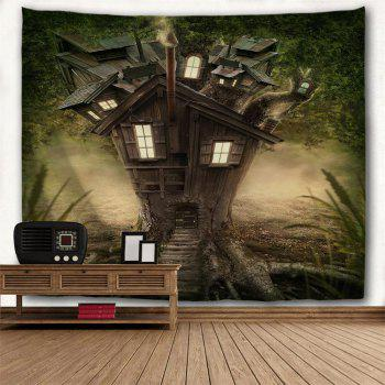 Fantasy Tree House  3D Printing Home Wall Hanging Tapestry for Decoration - multicolor W200CMXL180CM