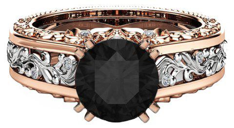 Lady Carved Large Gemstone Plated 14k Separation Ring - BLACK US SIZE 8