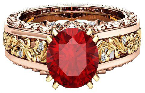 Lady Carved Large Gemstone Plated 14k Separation Ring - RED US SIZE 9