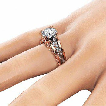 Lady Carved Large Gemstone Plated 14k Separation Ring - WHITE US SIZE 6