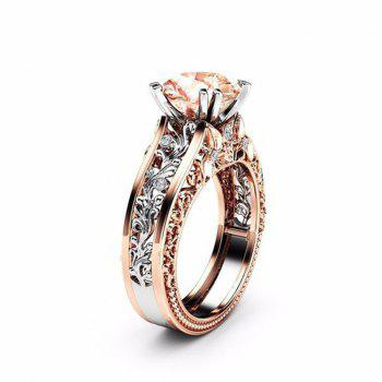 Lady Carved Large Gemstone Plated 14k Separation Ring - CHAMPAGNE US SIZE 10