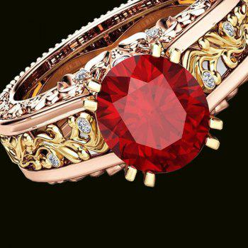 Lady Carved Large Gemstone Plated 14k Separation Ring - RED US SIZE 10