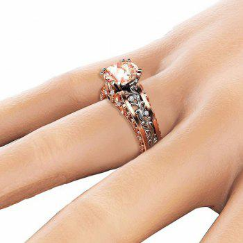 Lady Carved Large Gemstone Plated 14k Separation Ring - CHAMPAGNE US SIZE 6