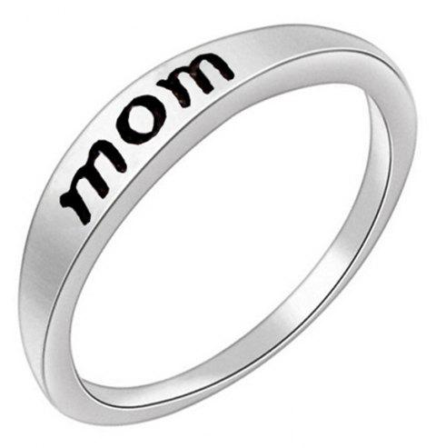 Stylish Minimalist Letter Mother's and Father's Day Gift Ring - SILVER US SIZE 9