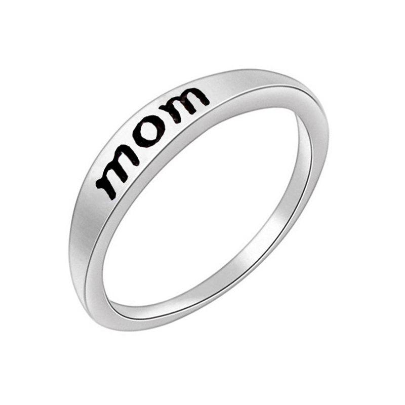Stylish Minimalist Letter Mother's and Father's Day Gift Ring - SILVER US SIZE 5