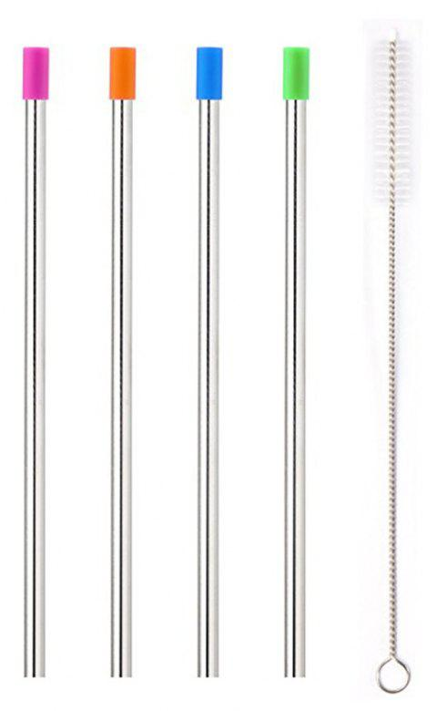 Stainless Steel Metal Straws with Cleaning Brush Widen for Thick Drinks 5PCS - multicolor A