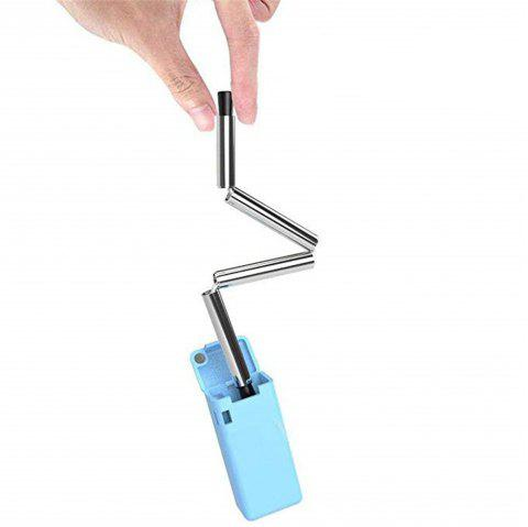 Folding Drinking Straw Collapsible Reusable Stainless Medical-grade Food-grade - BLUE ZIRCON
