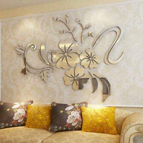 Fashion Mirror Flower Acrylic 3D Home Wall Sticker - SILVER