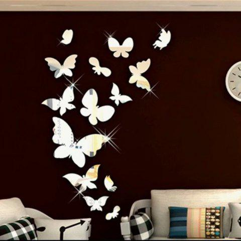 Fashion mirror Acrylic 3D Dutterfly Stereoscopic Wall Paste - SILVER
