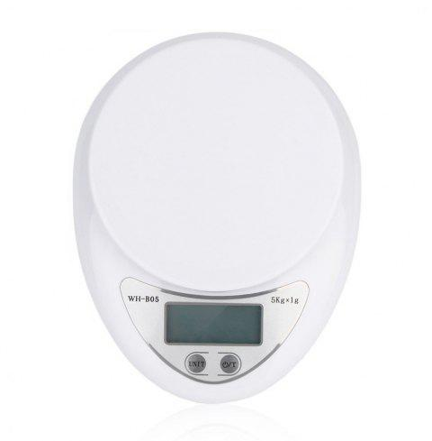 Portable 5kg Digital Scale LCD Electronic Steelyard Kitchen - MILK WHITE