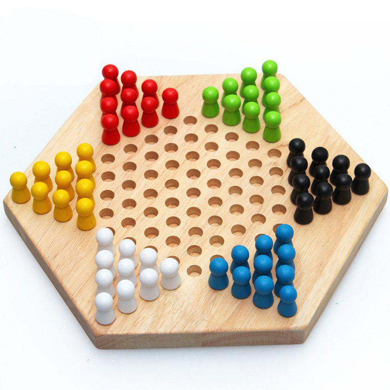 Traditional Hexagon Wooden Chinese Checkers Family Game Set - multicolor