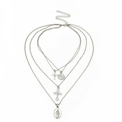 Exaggerated Personality Stylish Multi-layer Necklace - SILVER