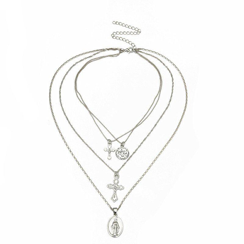 Vintage Exaggerated Personality Stylish Multi-layer Necklace - SILVER