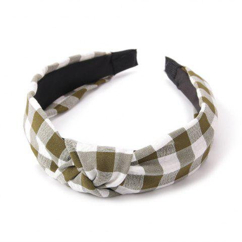Étudiants de la mode Cross Knot Small Grid Hoops Hairband - Vert Armée