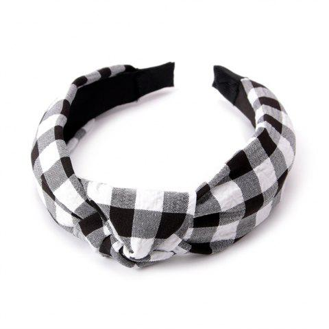 Fashion Students Cross Knot Small Grid Hoops Hairband - BLACK