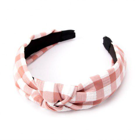 Fashion Students Cross Knot Small Grid Hoops Hairband - PINK