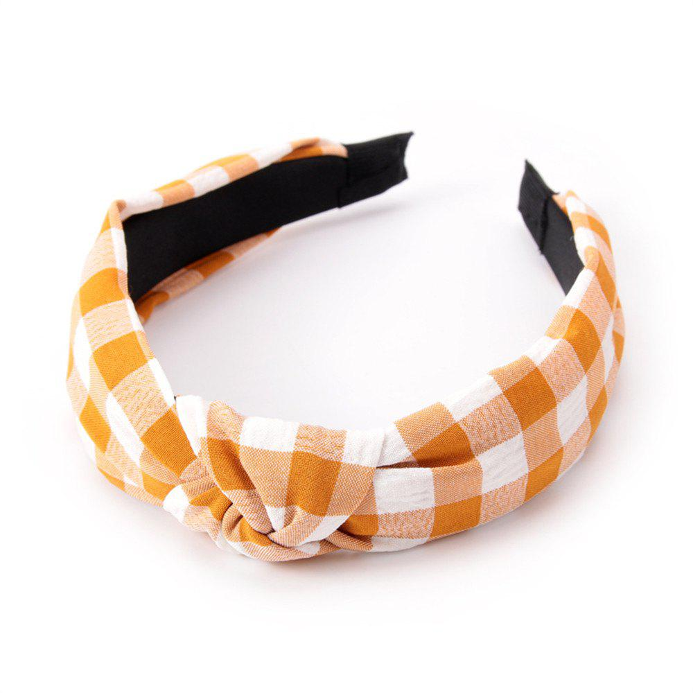 Étudiants de la mode Cross Knot Small Grid Hoops Hairband - Jaune Clair