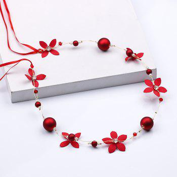 Bride Accessory Hair Band Earring Set - RED 3 X 42CM
