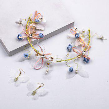 Bride Accessory Flowers Hair Band Butterfly Tire - multicolor A 35CM