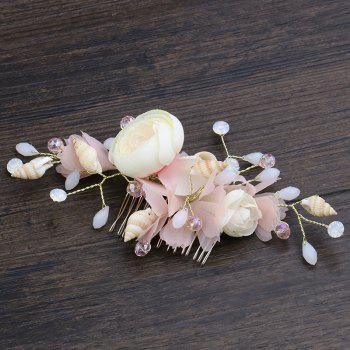 Bride Pink Tulle Flower Shell Comb - DEEP PEACH 9 X 14.5CM